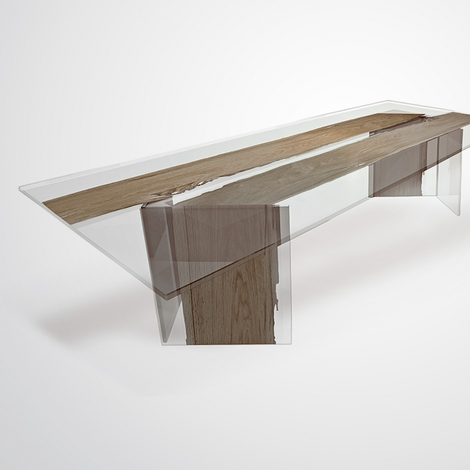 Table CONTINUO by BRICALE™ - Venice Briccola wood and glass