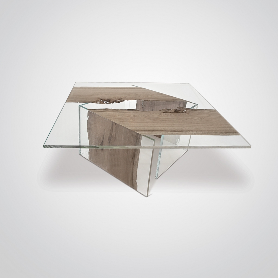 Coffee table CONTINUO by BRICALE™ - Venice Briccola wood and glass